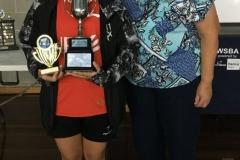 2019 U13 Australian Championships Winner Leigh Martin Sportsmanship Award Maureen Wijaya (NSW) with Pauline Martin